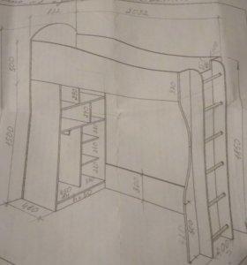 Кровать чердак с шкафом/ матрац