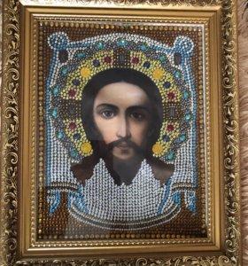 Икона стразами не священная ручная работа