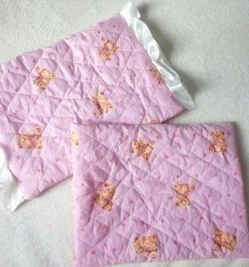Подушка (2 шт) для новорожденного в коляску/люльку