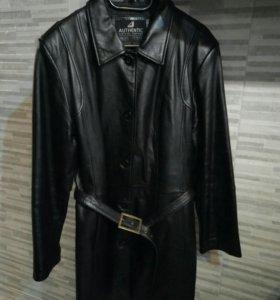 Плащ-пальто из натуральной кожи