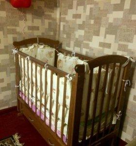 Кроватка детская с ящиком для белья