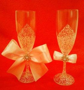 Свадебные фужеры бокалы аксессуары
