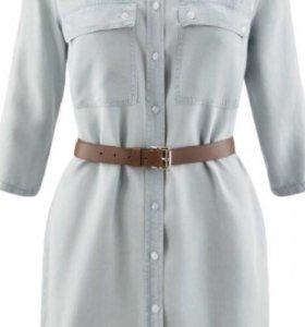 Платье-рубашка джинсовое с нагрудными карманами