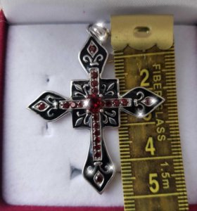 ✔ Крест серебро 925, эмаль, гранат