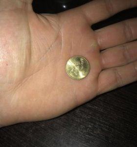 Монета наминало 10 рублей.
