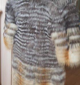 Шуба на вязанной основе енот/лиса