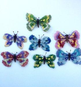 Бабочки из бисера на магните