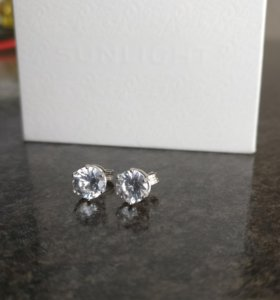 Гвоздики серебро серьги