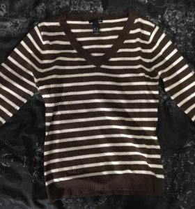 Джемпер коричневый в белую полоску H&M