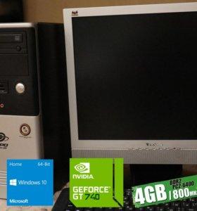 Компьютер с монитором: Win10, 4Gb RAM, 500Gb HDD