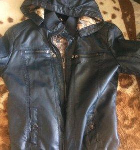 кожаная куртка с подкладкой.
