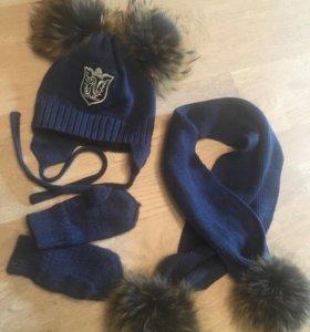 Комплект шапка и шарф с двумя помпонами+варежки