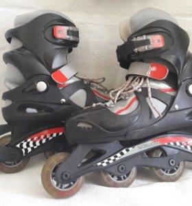 Раздвижные роликовые коньки Trans-Roller + защита