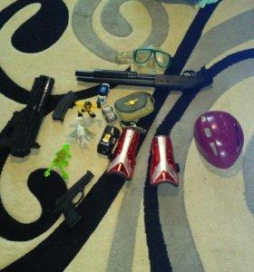 Игрушки,щитки,шлем,очки для дайвинга