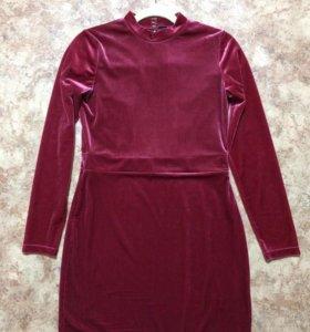 Бархатное платье, открытая спинка, цвет Марсала