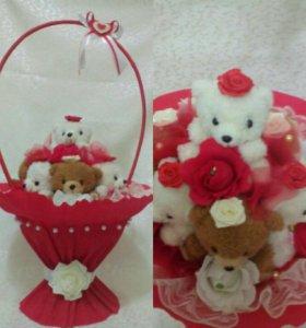 🎁Большая корзина с мягкими игрушками и конфетами