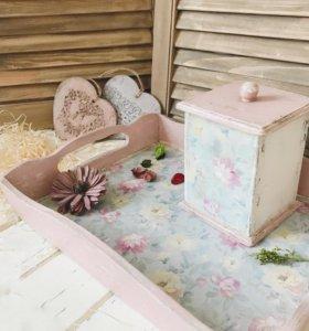Набор для кухни Поднос и коробочка для чая