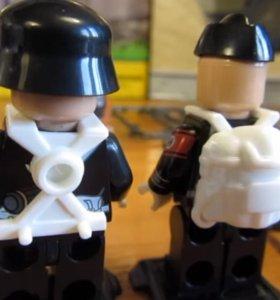 Новые лего 6шт WW2 немцы в черном мотоцикл и обмен