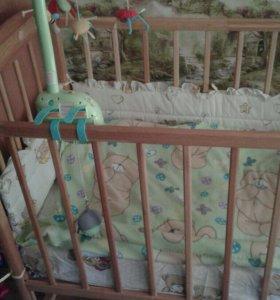 Кроватка детская с каруселькой и ортоп.матрасом