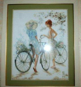 """Изысканная вышивка """"Велосипедистки"""""""