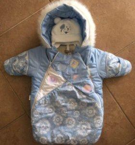 Комплект для новорожденного - конверт и шапочка