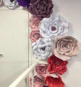 Большие цветы из бумаги для украшение