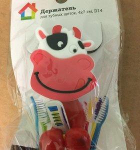 Держатель для зубной щетки на присоске Коровка