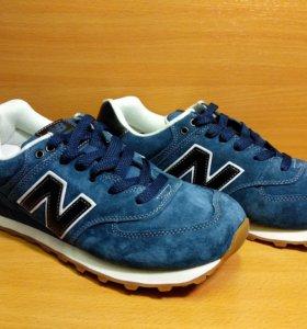 Кроссовки New Balance 574 мужские синие замшевые