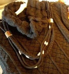Платье вязание черное , можно как туника до 50р.