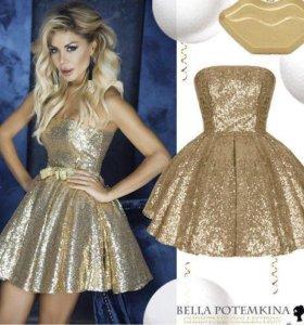 Платье «Амелия» с золотистыми пайетками.