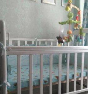 Кровать-маятник детская+матрас