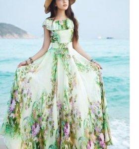 шифоновое платье с цветами, бохо