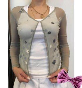 Кофта прозрачная с цветочками объемными блуза
