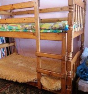 Двухъярусная кровать (дерево)