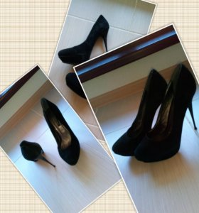 Туфли на каблуке замшевые, 38
