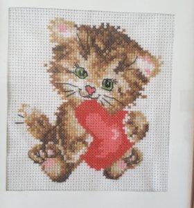 """Картина """"Любимый котенок"""" (вышивка крестиком)"""