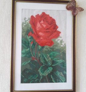"""Картина """"Роза"""" (вышивка крестиком)"""