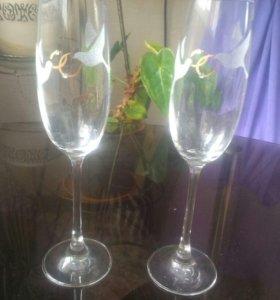 Свадебные бокалы+подарочек
