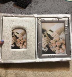 Подарочный набор на свадьбу:альбом+фоторамка