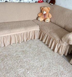 ЕВРОчехол на угловой диван+кресло
