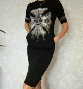Платье чёрное серое новые