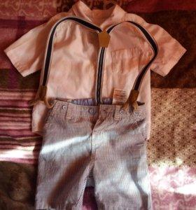 Шорты на подтяжкаж с рубахой на красавца 74см