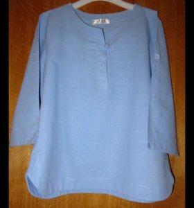 Блуза-рубашка из хлопка, размер 50-52.