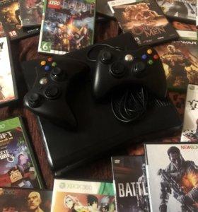 Xbox 360 Прошитый, Два джойстика и 50 дисков