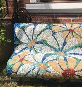 Лавка из керамической мозайки