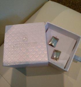 Запонки мужские серебро новые