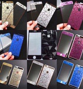 Цветные Защитные стекла на IPHONE 5/5s/6/6s