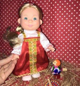Кукла Веснушка в русском костюме с сюрпризиком
