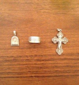 Кулон кольцо и крест кулон и кольцо 800 крест 1000