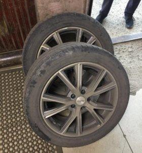 Диски R 18, с ризиной Bridgestone 235/50 2 шт.